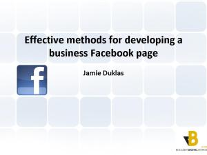 Developing and growing a business Facebook page presentation
